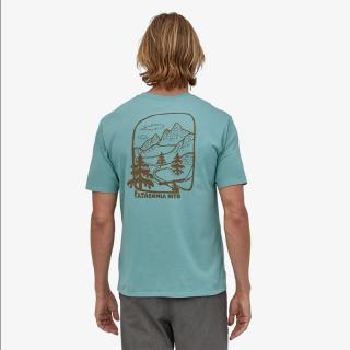 Patagonia Men's Roam the Dirt Organic Cotton T-Shirt Upwell Blue