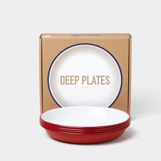 Falcon Enamelware Deep Plate Set - Pillarbox Red