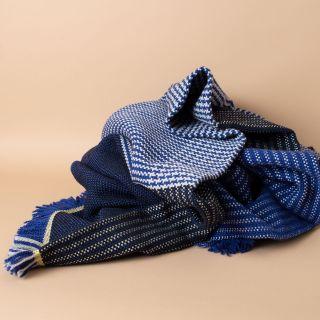 Ames Ruana Wolldecke Gelb, Grau, Blau