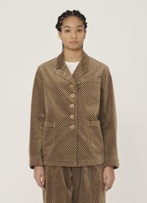 YMC City Cotton Dot Print Velvet Jacket Camel