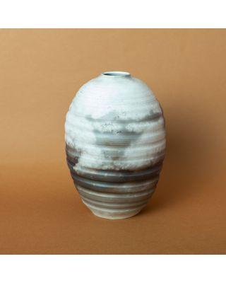 Kim Ka Mi Vase Oval Rib Smoked