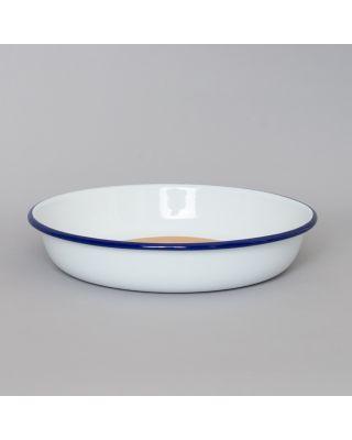 Falcon Enamelware Medium Salad Bowl White with Blue Rim